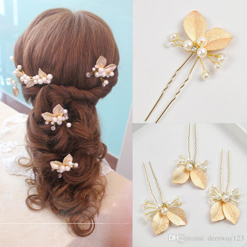 4 ADET Düğün Aksesuarları Altın Gelin İnci Tokalar Çiçek Kristal Rhinestone Saç Pins Klipler Nedime Kadınlar Saç Takı clippin
