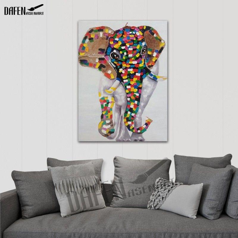Happy Elephant 100% dipinto a mano dipinti ad olio animale Divertente fumetto Picture Paint su tela Modern Wall Art Home Decoration