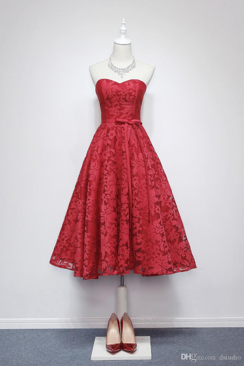 Wine red lace wedding guest dress sweetheart tea length for Vineyard wedding dresses for guests