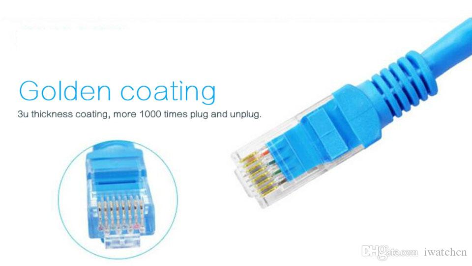 Different length Patch Cable EIA/TIA-568B Category Cat5E Network Ethernet LAN Cable with golden coating Crystal RJ45 Environmental PVC
