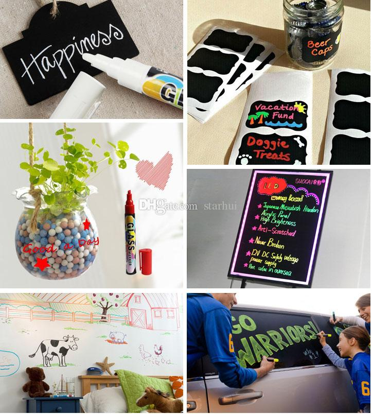 Wine Glass Markers Pen Vibrant Colors Charms Fun Flash Pen Write on any glassware Easy Erasable Halloween Chrstmas Gift WX9-84