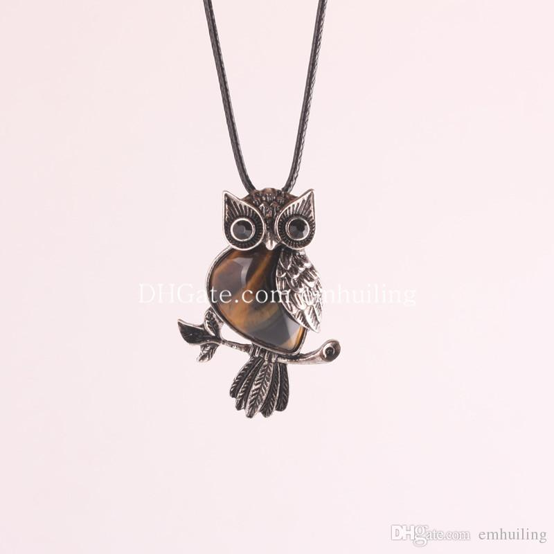 New Lovely Amethyst Gemstone Owl On Branch Necklace Owl Spirit Animal with Natural Stone Beads Pendant Leather Rope Women Necklace Jewelry