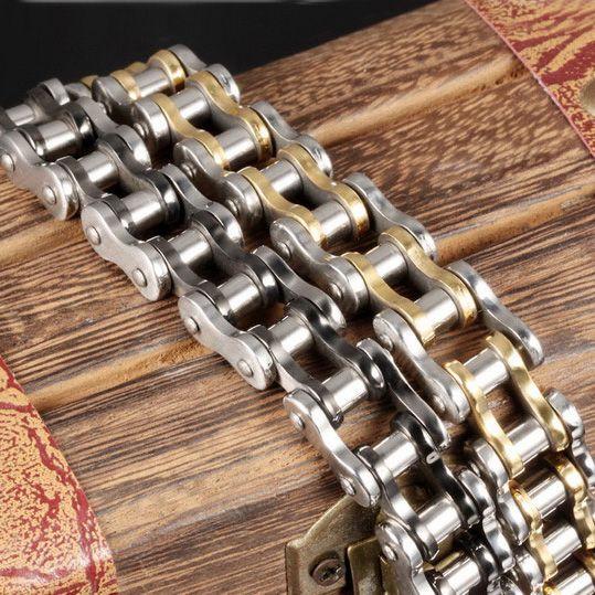 Titanium homens de aço do punk bangle motociclista de bicicleta cadeia manguito pulseiras bangles moda jóias brace lace 21.5 cm * 1.2 cm