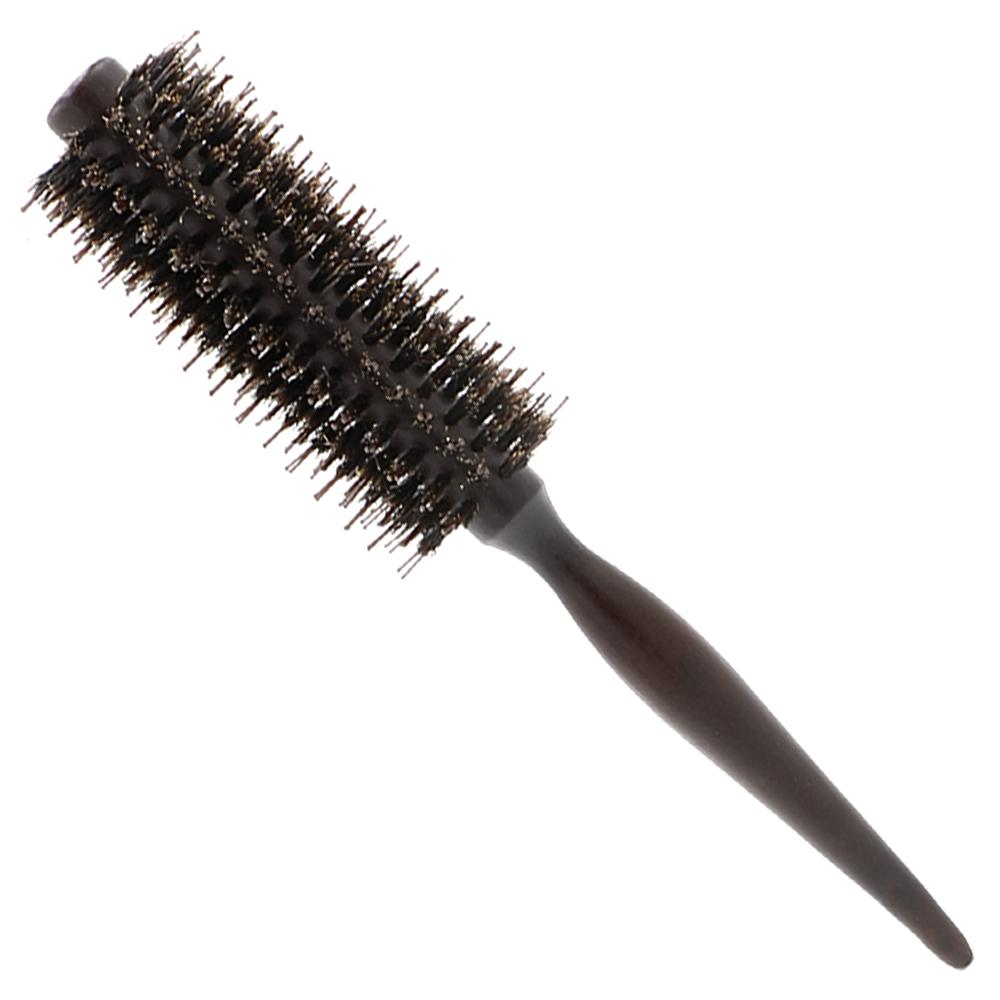 Anti-staic Brislte Brush Wood Taper Handle Curly Hair Brush Round Rolling Hair Comb For Professional Use