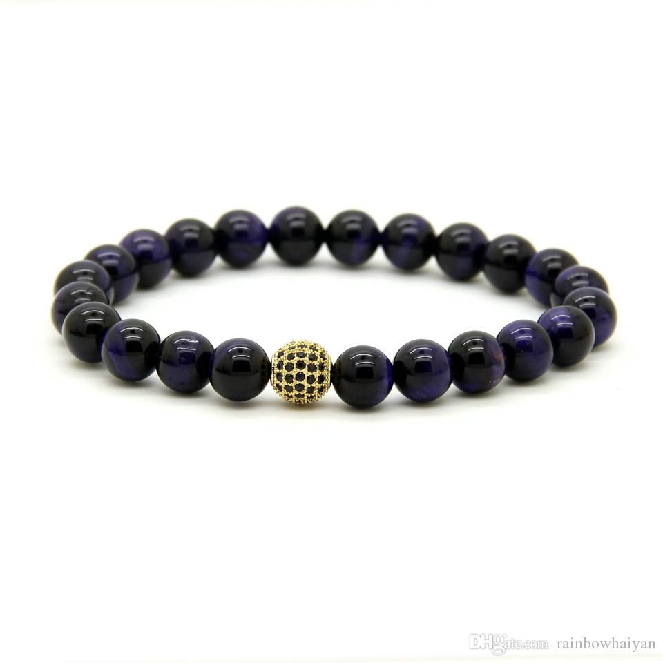 10pcs/lot Hot Sale Exquisite Micro Paved Black Cz Ball Jewelry 8mm A Grade Purple Tiger Eye Stone Beads Bracelet