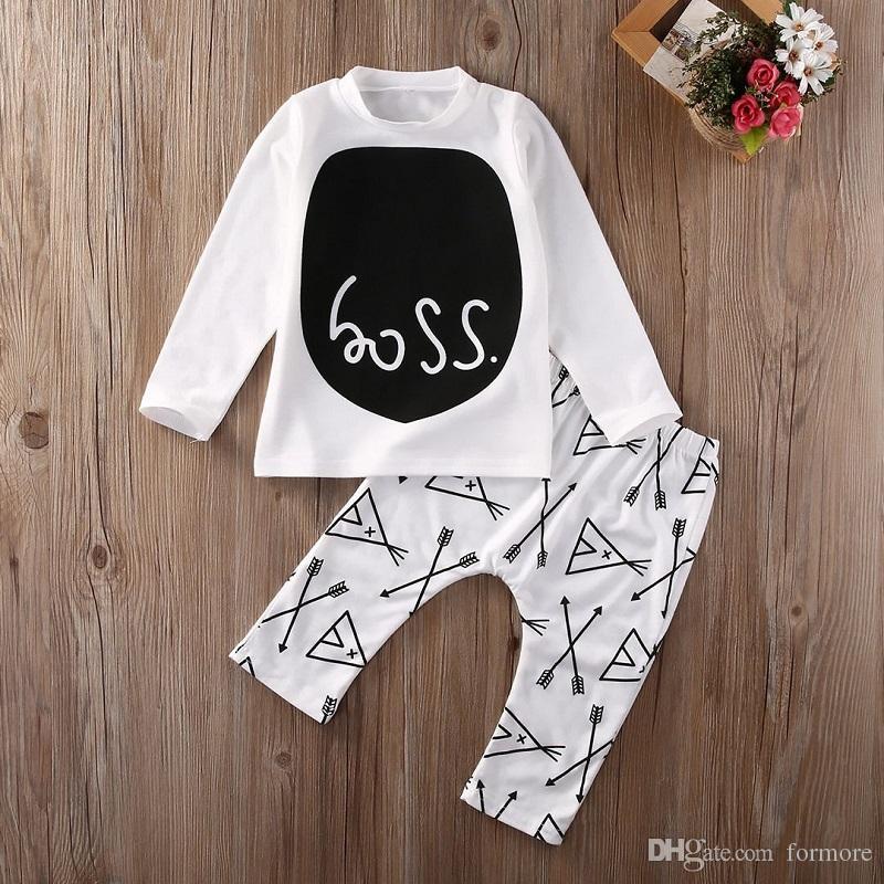 Conjunto de ropa de bebé Conjunto de niños pequeños Ropa de niños boutique Conjunto Algodón Otoño Otoño Traje Chicos de manga larga Camisa Legging Pantalones