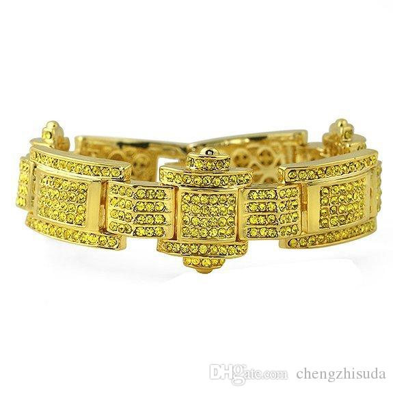 Hip Hop Style Fashion Jewelery 18k Gold Silver Gun plated Bling Bling Iced Out Bracelet For Mens HQ