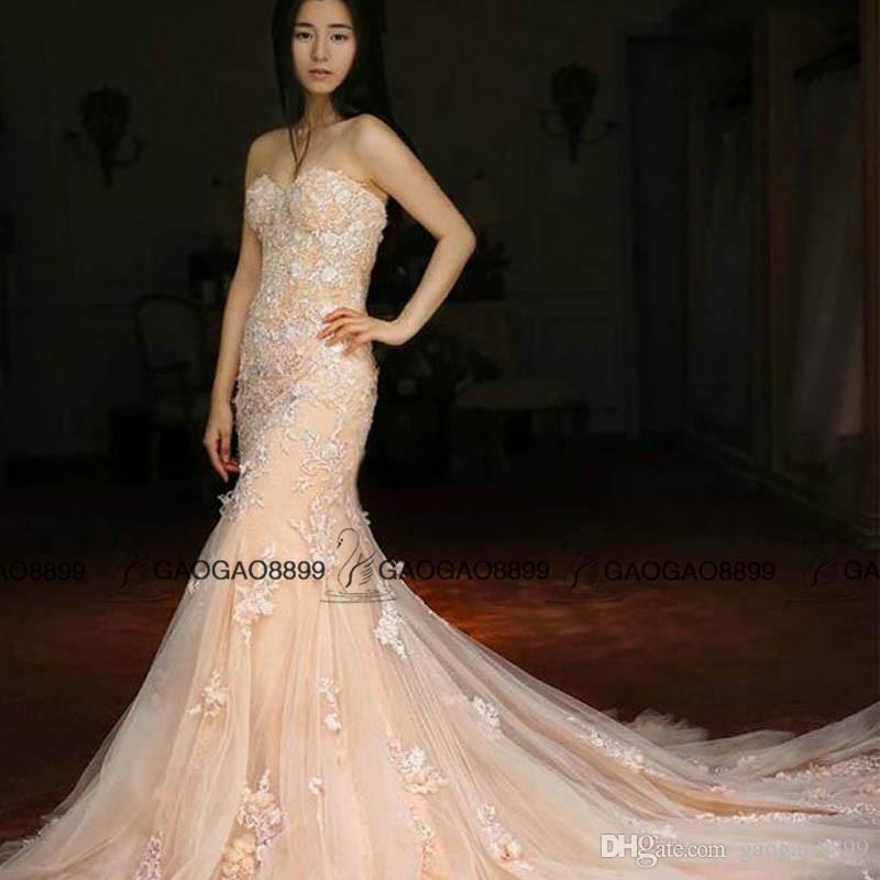 Elegant blush Champagne Mermaid Wedding Dresses with Long Sleeve Cape Handmade Flower Country Bridal Gown with Lace Appliques 3D Floral