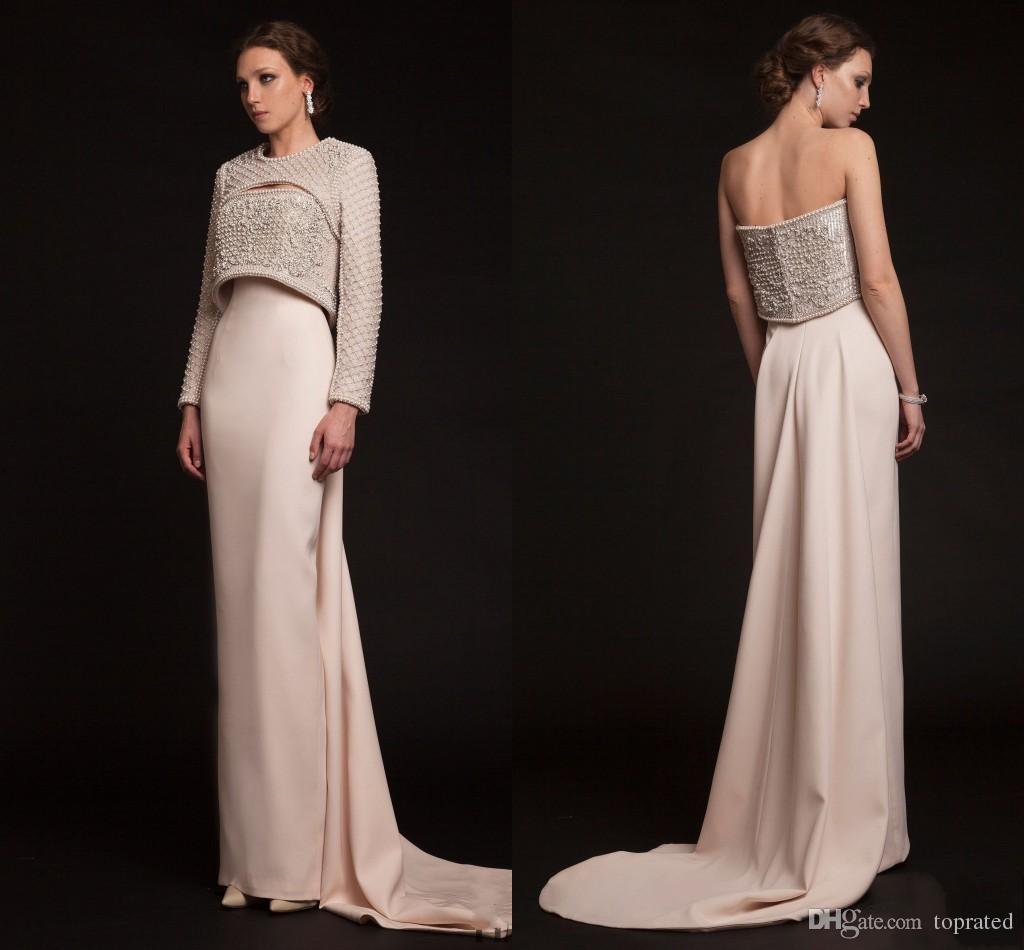 Großhandel Krikor Jabotian 16 Luxus Lange Perlen Abendkleider Elegante  Jacke Mit Langen Ärmeln Kristall Perlen Neueste Moderne Promi Prom Party