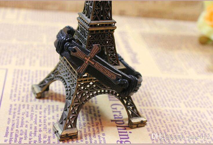 Cross Bible Charm Braided Bracelet Lection Rope Chain Bangle Handmade Black Genuine Leather Adjustable Wristband Vintage Jewelry Wholesale