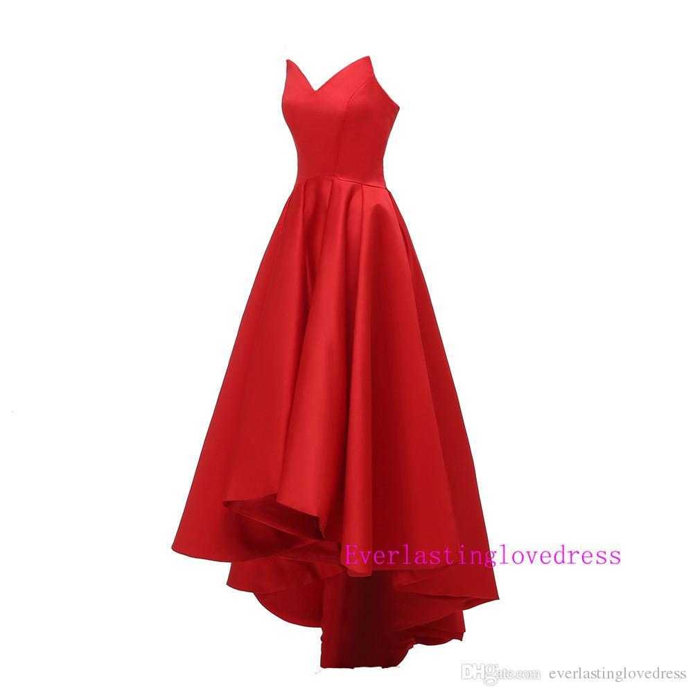 Designer Querida Árabe Alta Baixa Red Matte Satin Prom Vestidos Red Ball Gowns Alta Moda vestido de noite vestido de festa