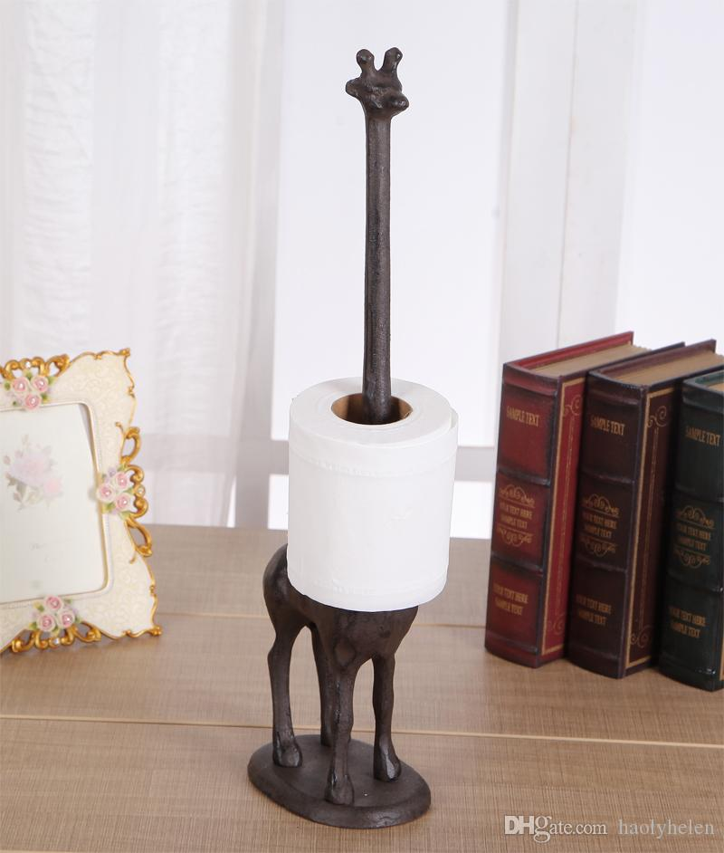 towel holder stand paper towel 2018 cast iron long neck giraffe paper towel holder rust roll rack stand toilet kitchen living room bathroom crafts decor from haolyhelen