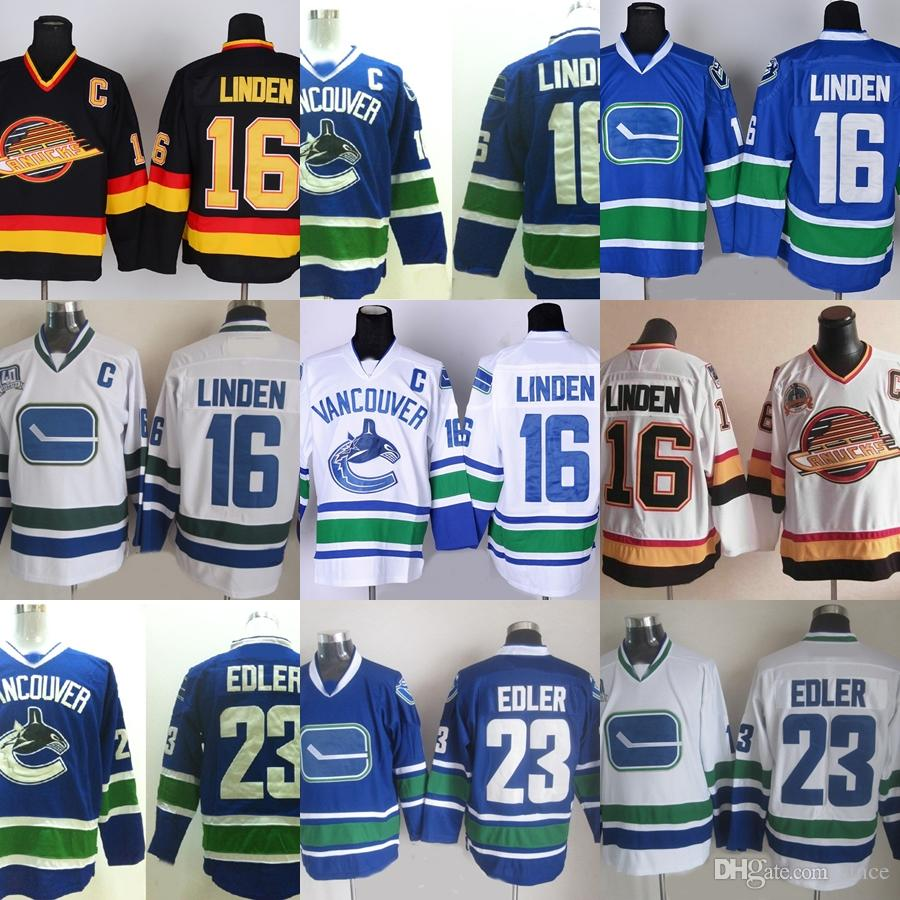 95d850376 2019 Factory Outlet Men S Vancouver Canucks  16 Linden  23 Alexander Edler  Blue White Green Black Best Quality Newest Hot Sale Ice Hockey Jerseys From  Since ...