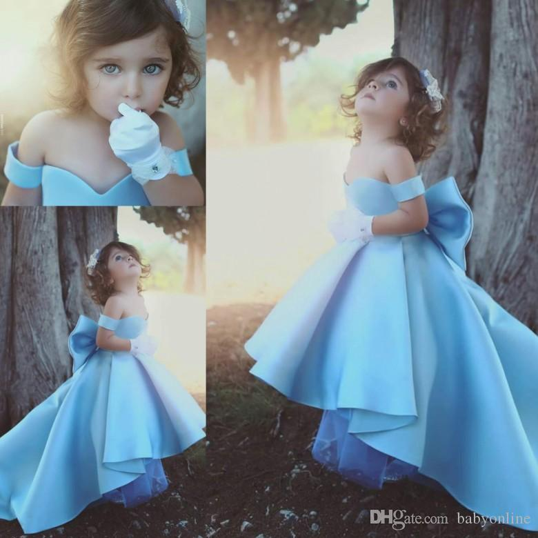 ae86d0a04 Cute Baby Blue High Low 2017 A Line Flower Girls Dress Off Shoulder ...