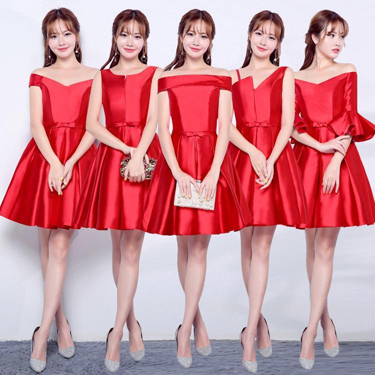 Атласные короткие платья для подружек невесты на шнуровке 2019 длиной до колен бальное платье свадебные платья для гостей фиолетовый красный серебряный