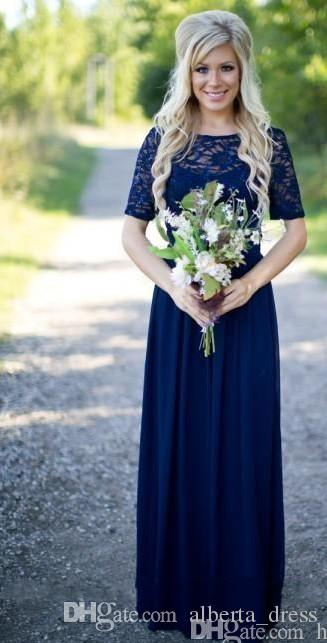 Abiti da damigella d'onore Paese 2017 New Hot Long For Weddings Royal Blue Chiffon Maniche corte Illusion Lace Beads Lunghezza pavimento Cameriere abiti da damigella d'onore