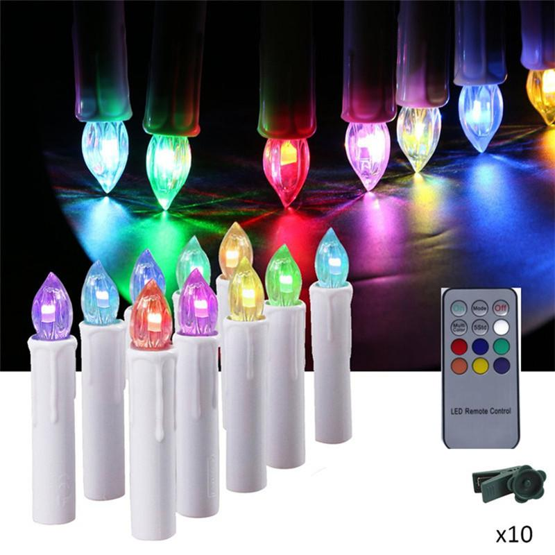 2019 Timer Led Taper Candles Colorful Battery Powered Remote Control