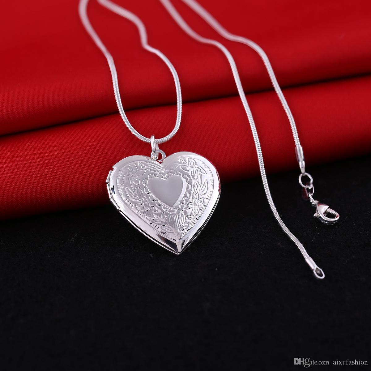Plateado plata medallones colgantes collares corazón tallado marcos de fotos puede abrir collar medallón regalo de San Valentín para mujeres niña
