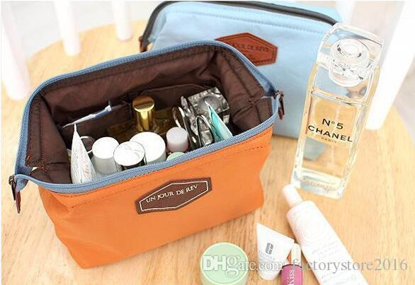 Women's Makeup Cosmetic Cases Fashion Travel Kit Solid 4 Colours Organizer Bag For Lady Small Zipper Cosmetic Bags