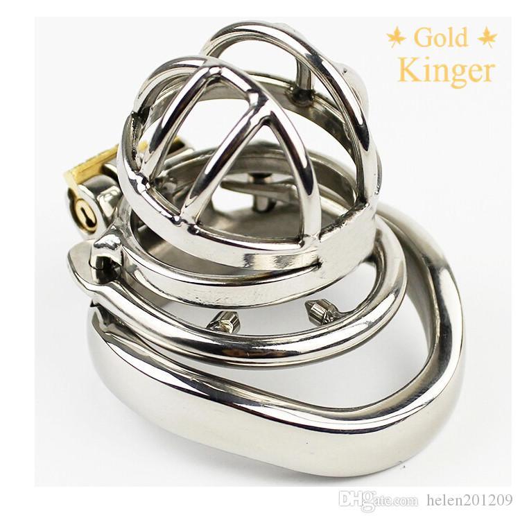 316 de aço inoxidável super galo pequeno maricas gaiola Castidade com Anti-off Dispositivo anel de sujeição Fetiche Dispositivo pénis A274-1 anel