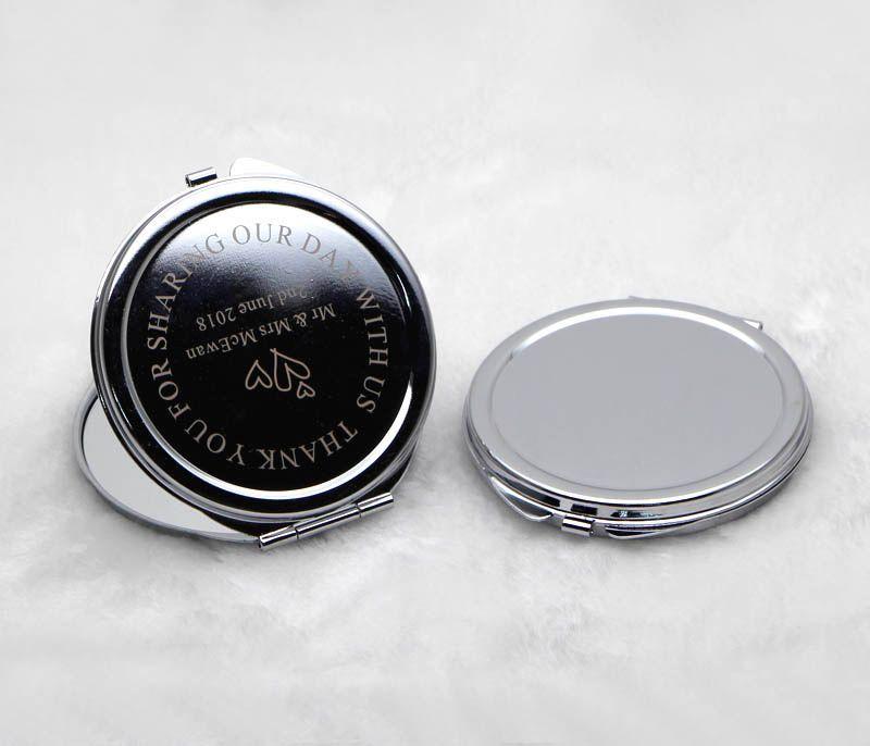 Kişiselleştirilmiş Kompakt Ayna Yuvarlak Gümüş Metal Oyulmuş Makyaj Aynası Hediye Torbalar ile Düğün Iyilik M0832 ÜCRETSIZ KARGO
