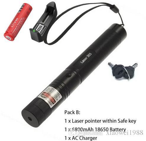 المهنية قوية 303 ليزر أخضر مؤشر القلم ضوء الليزر مع 18650 بطارية ، مربع التجزئة التركيز حرق الخشب مباريات