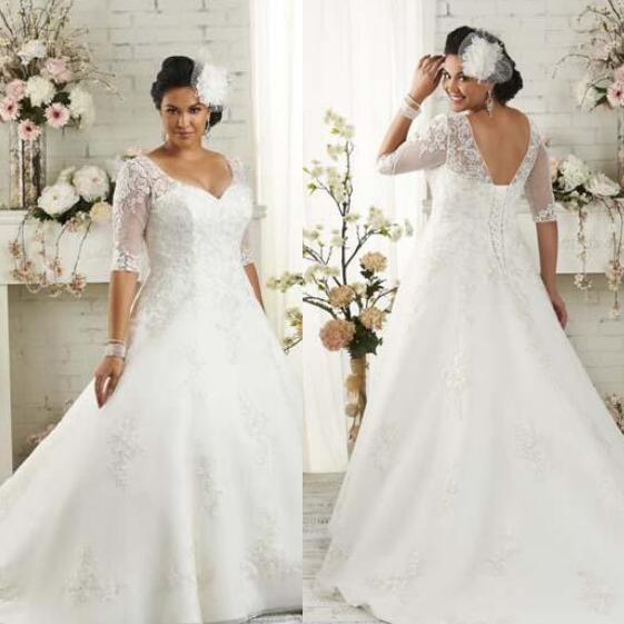 Discount Plus Size Wedding Dress Lace Up Half Sleeves Wedding Gown ...