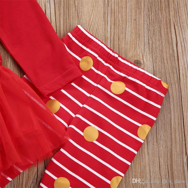 christmas Xmas toddler Newborn infant children kid Baby Kids Girl red striped santa Tutu Skirt Tops+Leggings Clothes