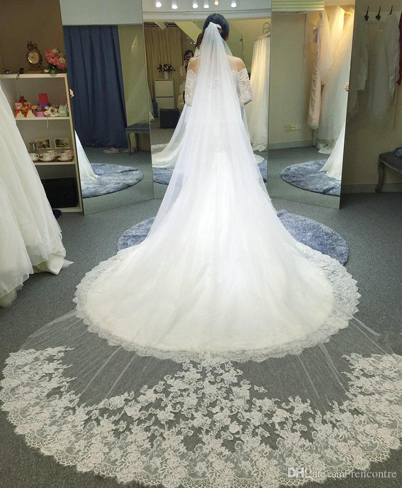 2016 Luxury Cathedral Length Wedding Veils 3 5m Long Bridal White Ivory Lace Appliques Bride Veil High Quanlity From