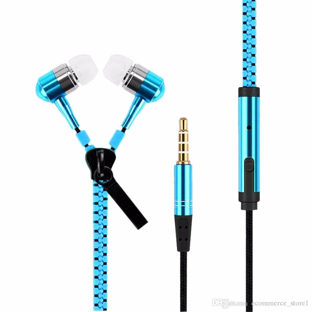 Zipper Earphones Headset 3.5MM Jack Bass Earbuds In-Ear Zip Earphone Headphone with MIC for Iphone 6 Plus Samsung S6 MP3 MP4