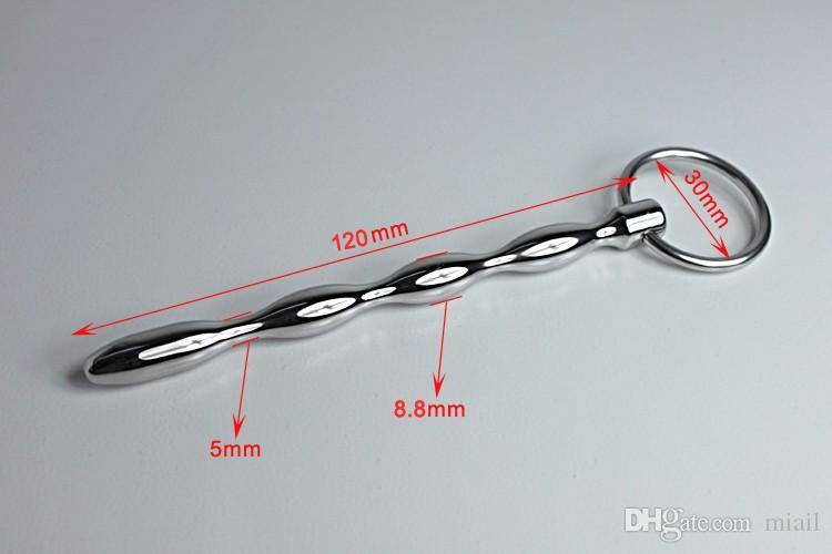 624 Urethral dilators 120mm Male Stainless Steel Solid Urinary Penis Plug Beads Mens Metal Catheters Rod Fetish Sex Toys Adult Games