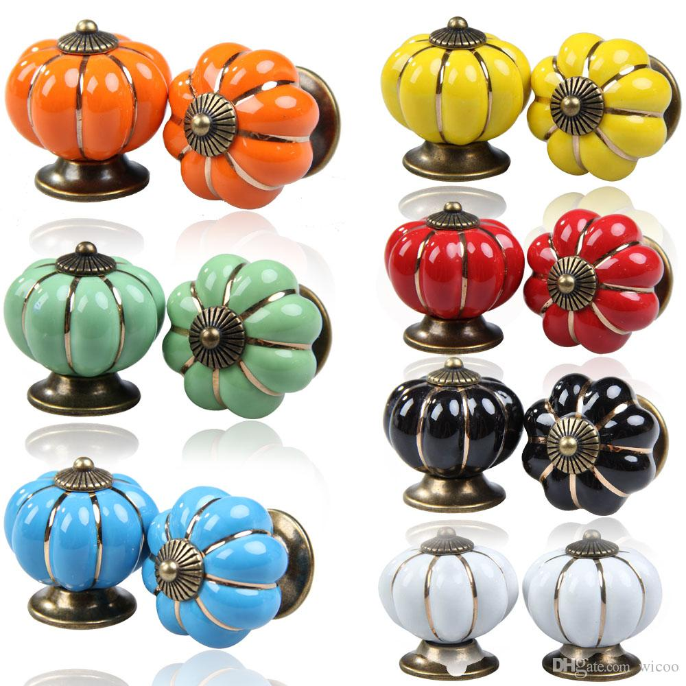 2018 Vintage Pumpkin Ceramic Door Knobs Cabinet Drawer Cupboard Kitchen  Pull Handle Alloy For Wardrobe Dresser From Wicoo, $4.02 | Dhgate.Com