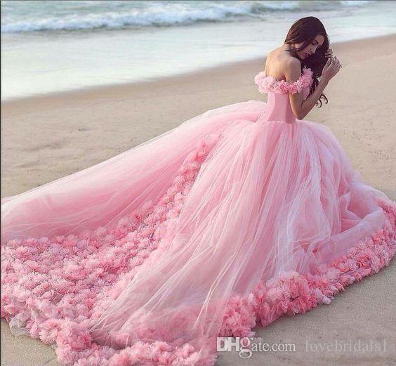 Baby rose quinceanera robeball robes de robe sur l'épaule Tulle Corset Vente chaude Pour Sweet 16 robes de bal avec robe de fête de fleurs fabriquée à la main