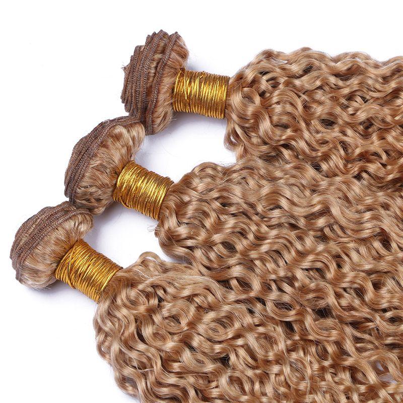 Brasileiro Kinky Curly cabelo humano extensões de cabelo louro mel Pacotes não transformados # 27 Hair Color Pure Tece / preço barato