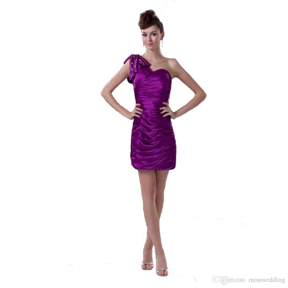 Competitive Price One Shoulder Beaded Purple Short Party Dress Young ...