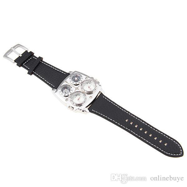 Новое прибытие мужские OULM 1140 Top Brand часы высокое качество кожа двойной Япония Movt кварцевые прямоугольные военные часы черный