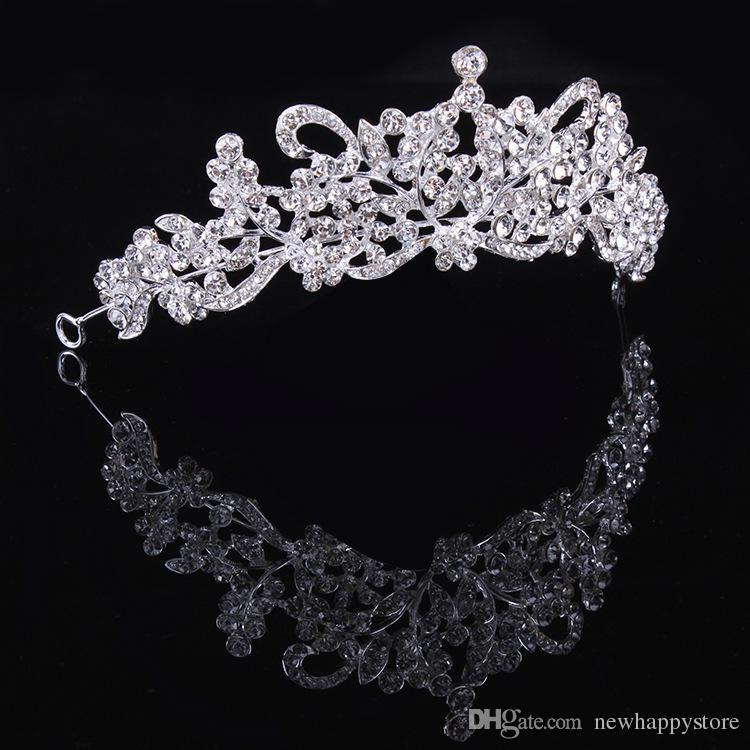 New Fashion Clear Rhinestone Crystals Flower Tiara Crown For Bridal Women Wedding Hair Jewelry Accessories Best