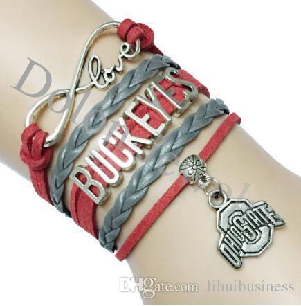 / vente chaude Infinity Love Ohio State Buckeyes Bracelet d'équipe NCAA College en cuir suédé personnalisé Club de sport Lieu Nom Bracelet cadeau