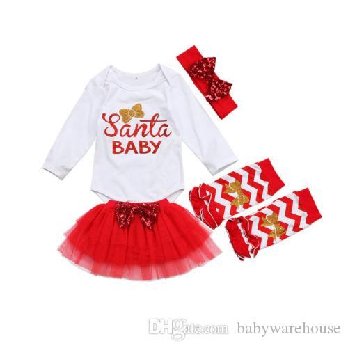 Christmas Outfits Baby Newborn Set Girls Santa Baby Romper + Lace Tulle Skirt + Leg Warmers + Headband Outfits Kids Clothes Baby Clothing