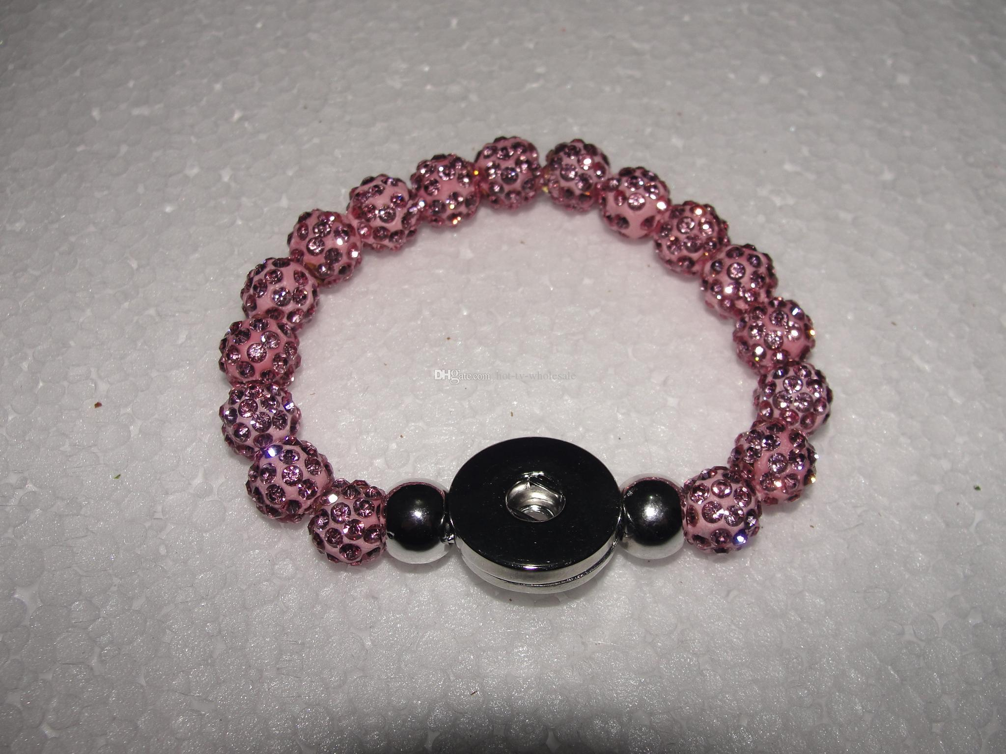 10mm*17 beads Crystal Shambala NOOSA Custom Snap Button Charm Bracelet stretch Interchangeable 18mm Charm Bracelet