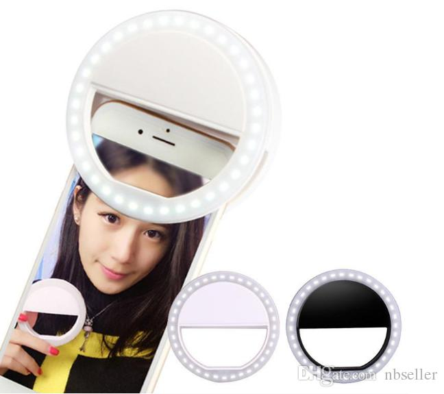 Selfie LED Ring Flash Light Camera Fill Light Photography Spotlight Flash Night Shot Light For iPhone samsung Adjustable Brightness