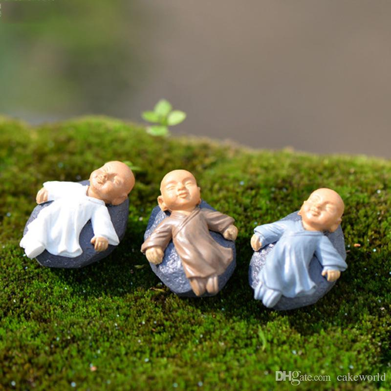 4 pz kung fu Monk del fumetto figurine fairy garden miniature ornamenti terrario Jardin Decorazione muschio Micro Paesaggio mestieri della resina
