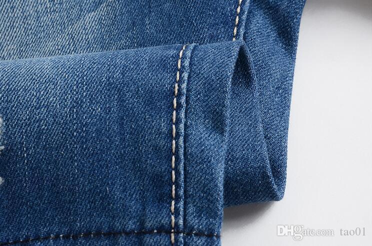 Sommer lässig baumwolle herren jean shorts modemarke designer retro männer loch knielangen denim shorts jeans hosen plus größe