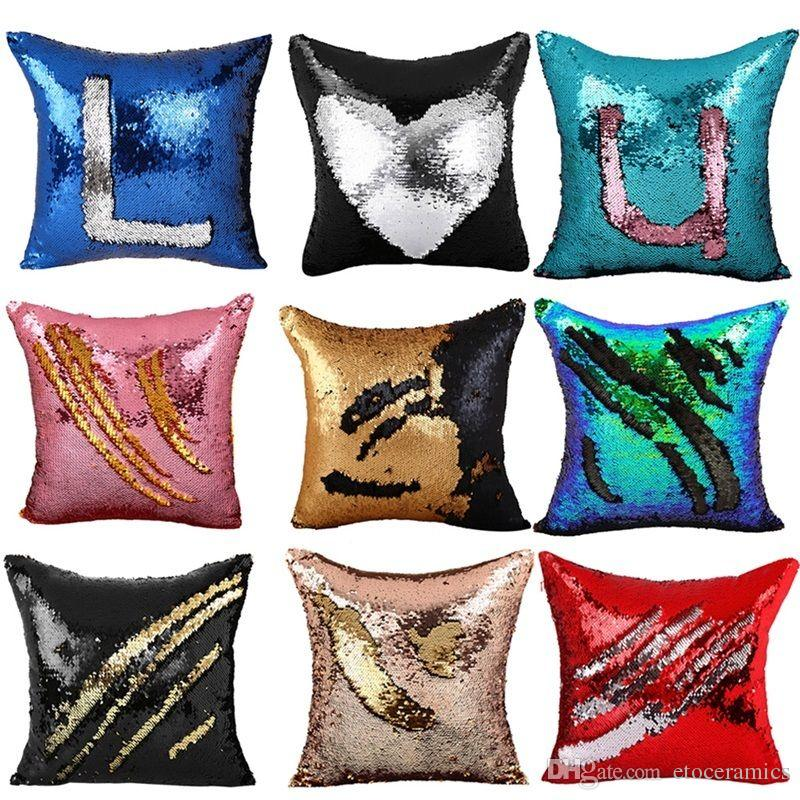 Dubbel Sequin Pillow Case Cover Glamour Square Pillow Case Kuddehölje Hem Soffa Bil Inredning Mermaid Ljus Kudde Skydd
