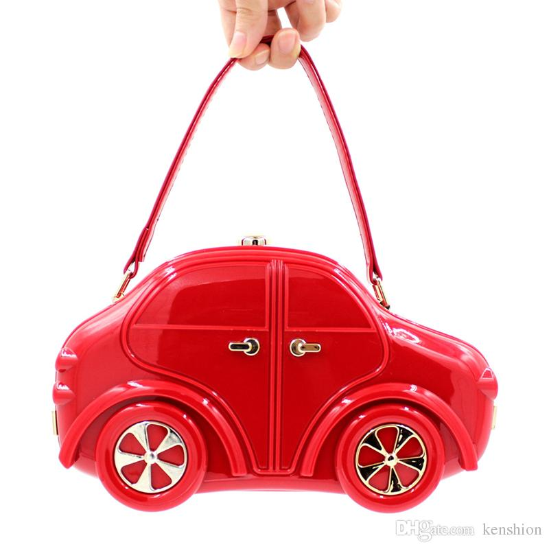 Hot Brand Design Kindergarten Boy Girl Evening Bags Car Acrylic Clutch Child Tote Handbags Kids Cartoon Travel Bags - RQC