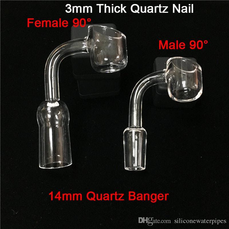 Hot MOQ to 1 sztuka Najlepsza cena Real 3mm Grube Quart Paznokci 10mm 14mm 18mm Wspólny Termiczny Quartz Banger 90 45 Stopni Domy Kwarcowy Banger Paznokci
