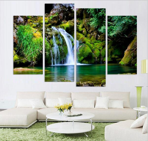 discount 4panel nature scenery waterfall trees painting home decoration canvas art wall hanging picture no frame from china dhgatecom