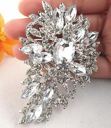 cec32e290 2019 Large Style Silver Plated Crystals Studded Big Leaf Brooch Wedding  Bridal Brooch Pin B520 From Newjewelryworld, $9.55 | DHgate.Com