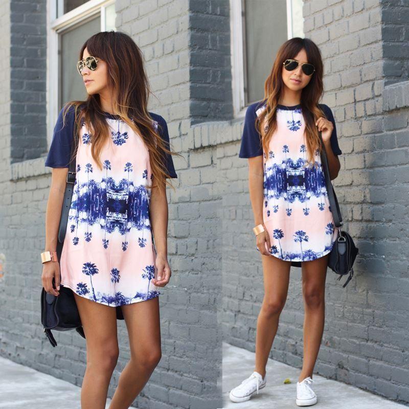 44dc27581 Compre Mujeres Bonitas Vestidos De Manga Corta Estilo De Verano De  Impresión O Cuello Vestido De Fiesta Casual Mini Dress Ladies Plus Size  Dress A  26.74 ...