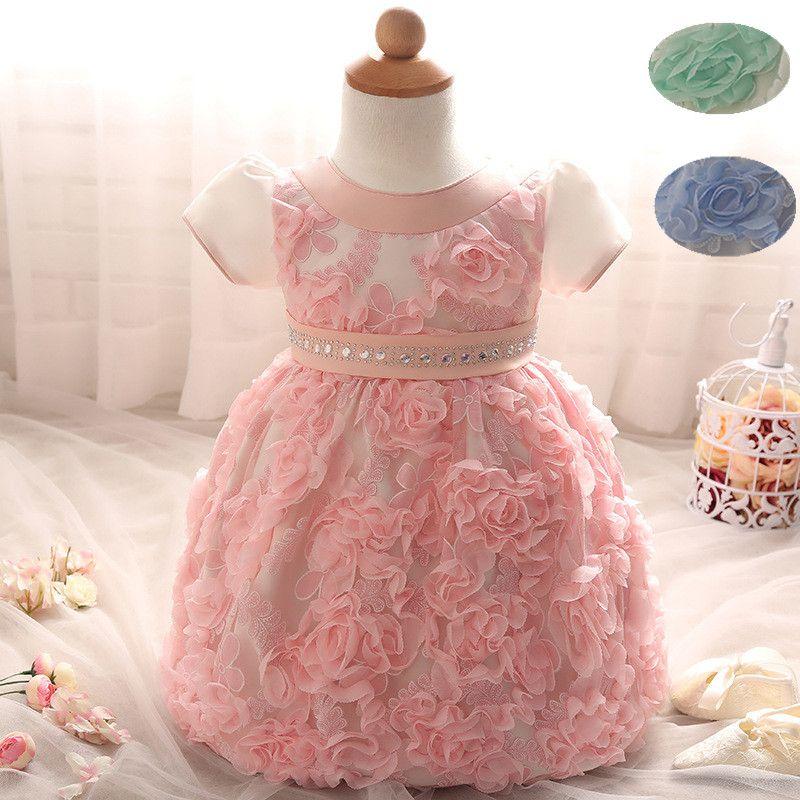 Großhandel Blumen Baby Frock Designs Neugeborenes Baby Taufe Kleid ...
